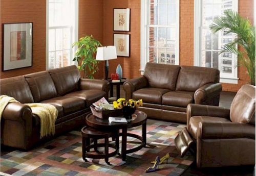 living room Leather Furniture modern interior