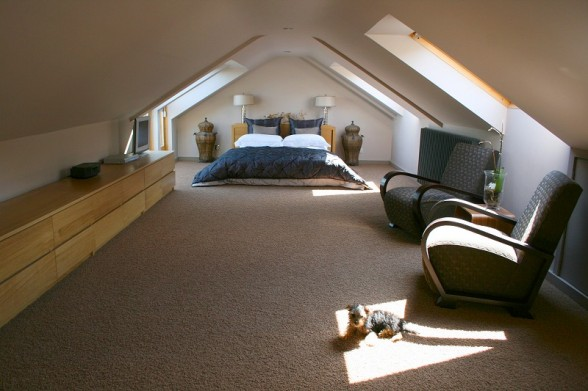 wide attic bedroom