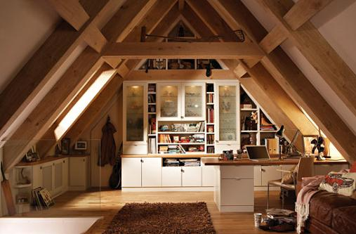 Large attic office room remodeling for home